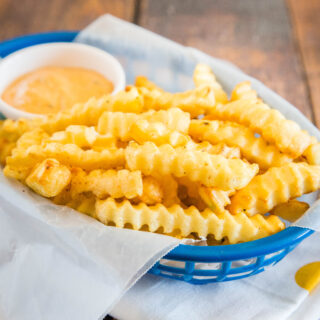 close up of air fryer french fries