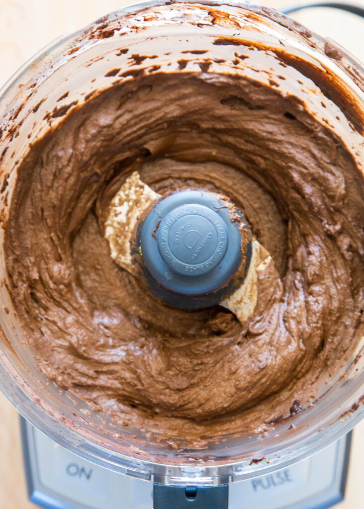 chocolate mousse in the food processor blended together