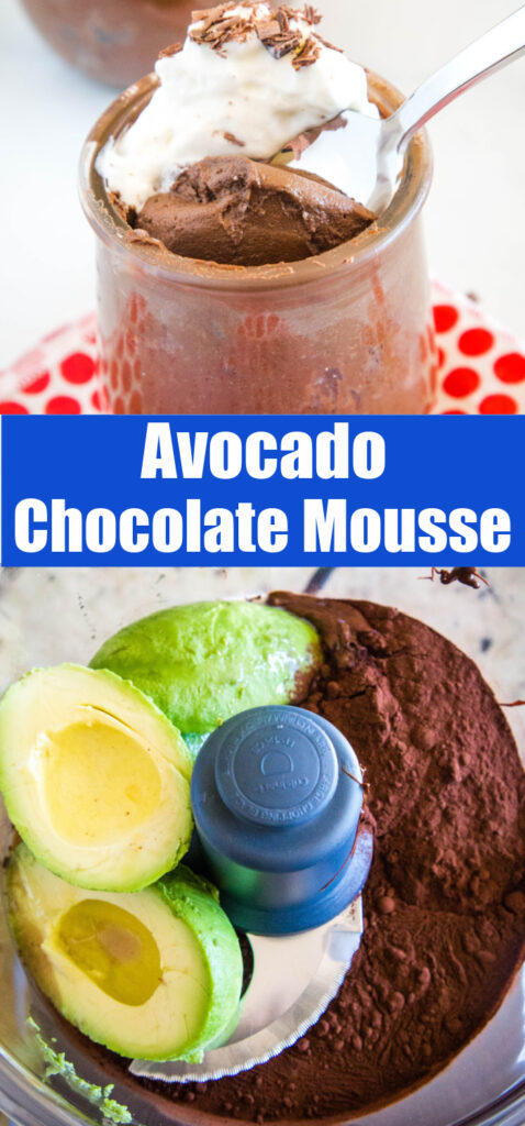 avocado chocolate mousse collage pin