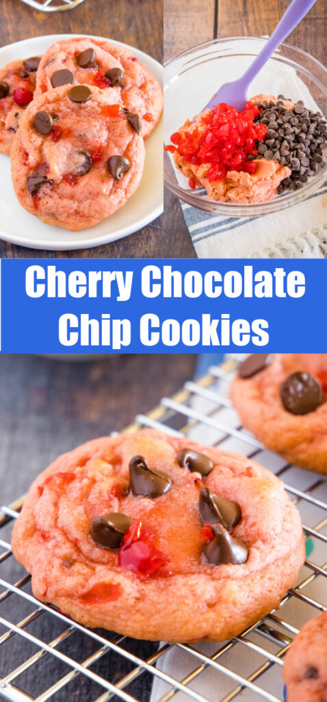 collage of making cherry chocolate chip cookies