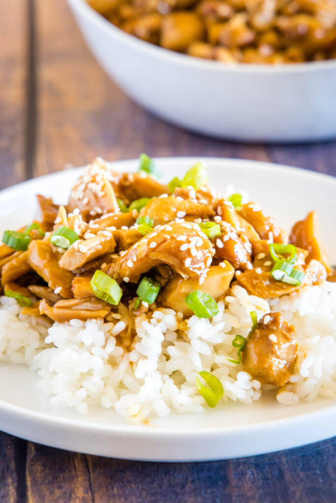 slow cooker teriyaki chicken on plate