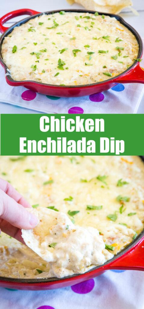 chicken enchilada dip in pan