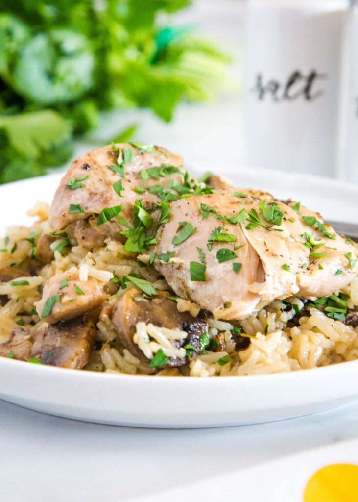 plate with mushroom rice and instant pot chicken