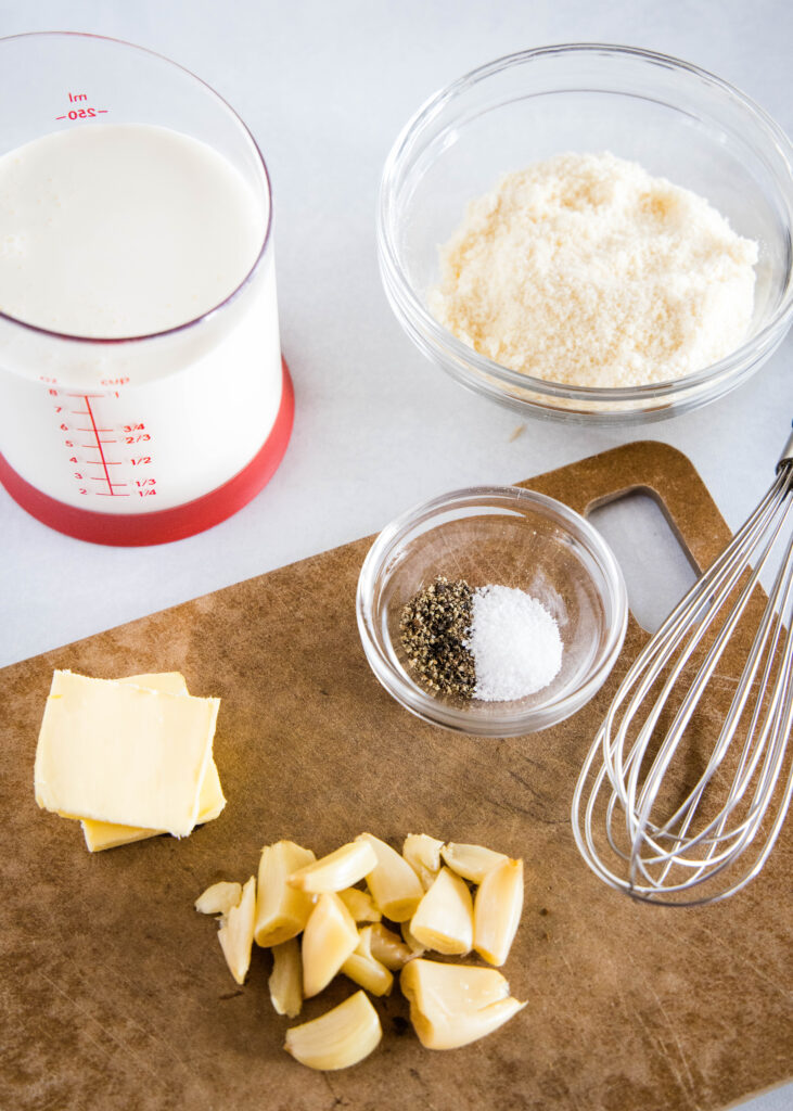 ingredients for roasted garlic cream sauce