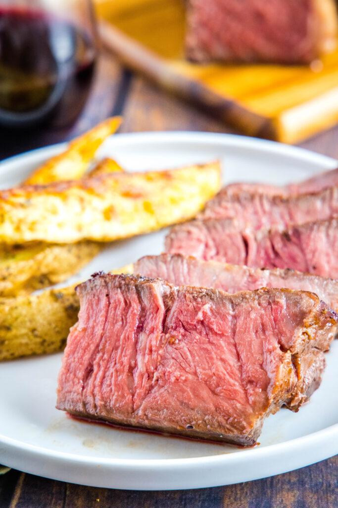 sous vide steak sliced on a plate