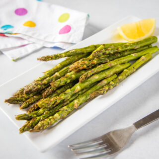 close up of roasted asparagus