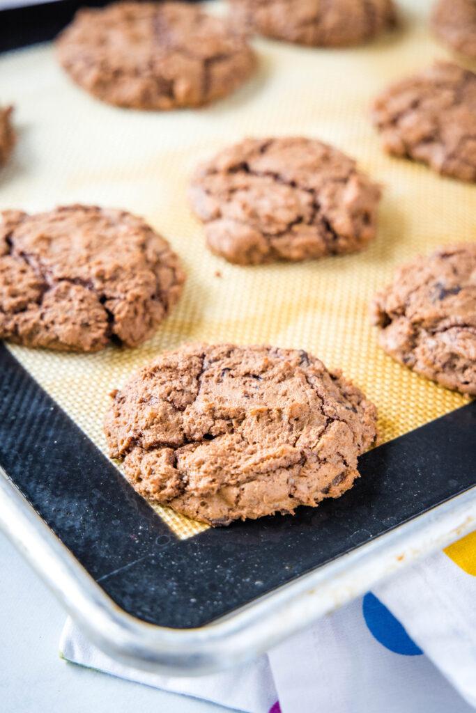 baked brownie cookies on baking sheet