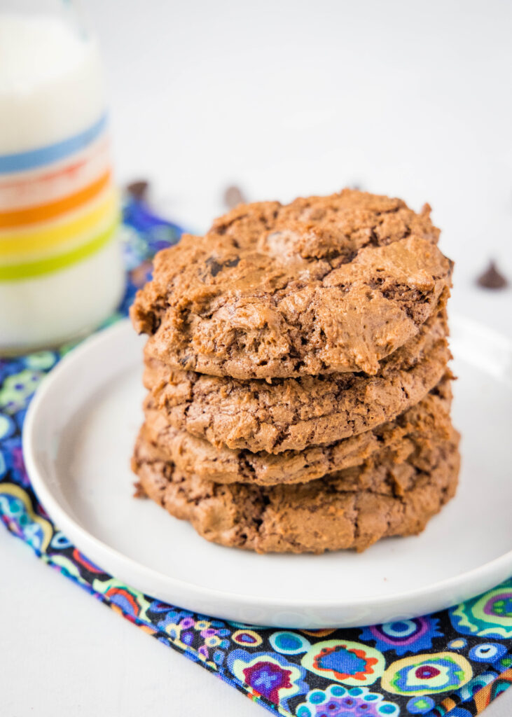 stack of chocolate cookies on a plate