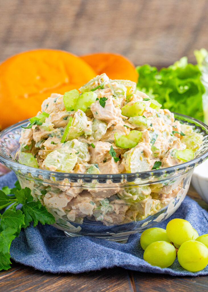 chicken salad with grapes in a serving bowl