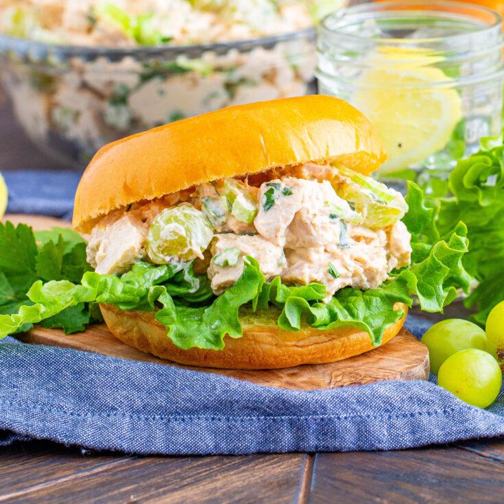 close up chicken salad sandwich