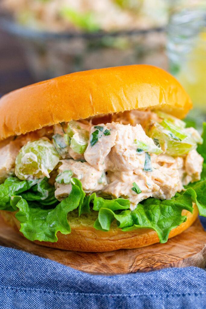 chicken salad sandwich on a bun
