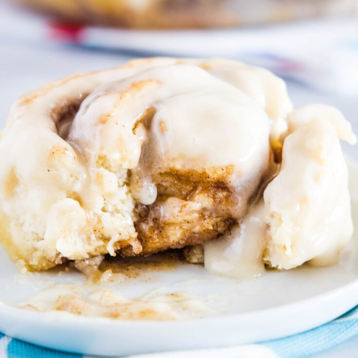close up of cinnamon roll with bite missing