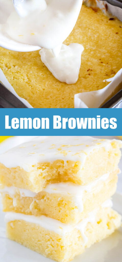 lemon blondies with glaze being poured on