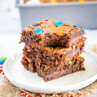 close up of brownies with a bite out of one
