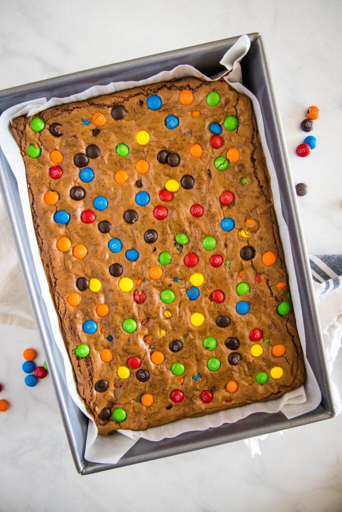 baked M&M brownies