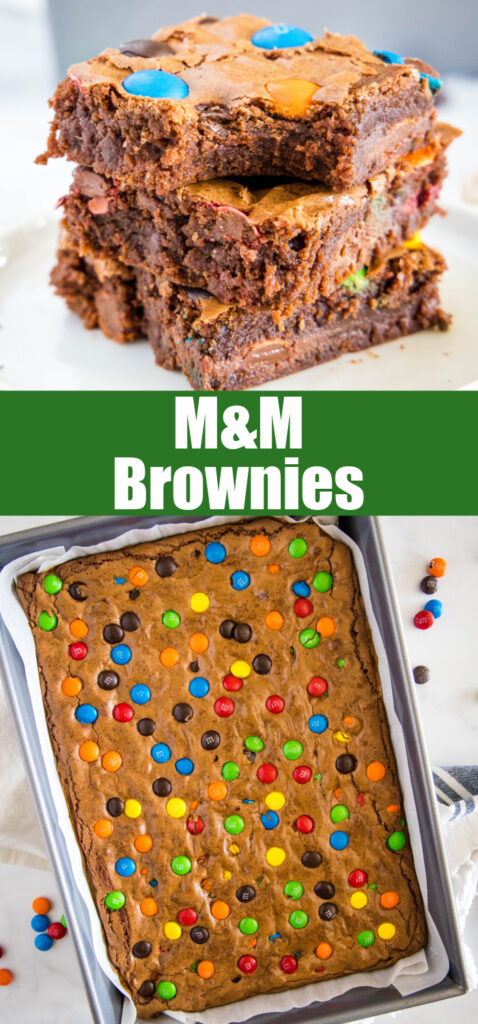 Fudgy brownies with M&M's in collage for pinterest