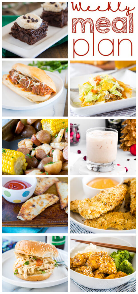 collage of weekly meal plan for pinterest