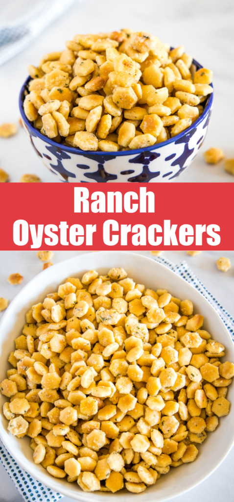 pinterest collage of ranch oyster crackers in a bowl