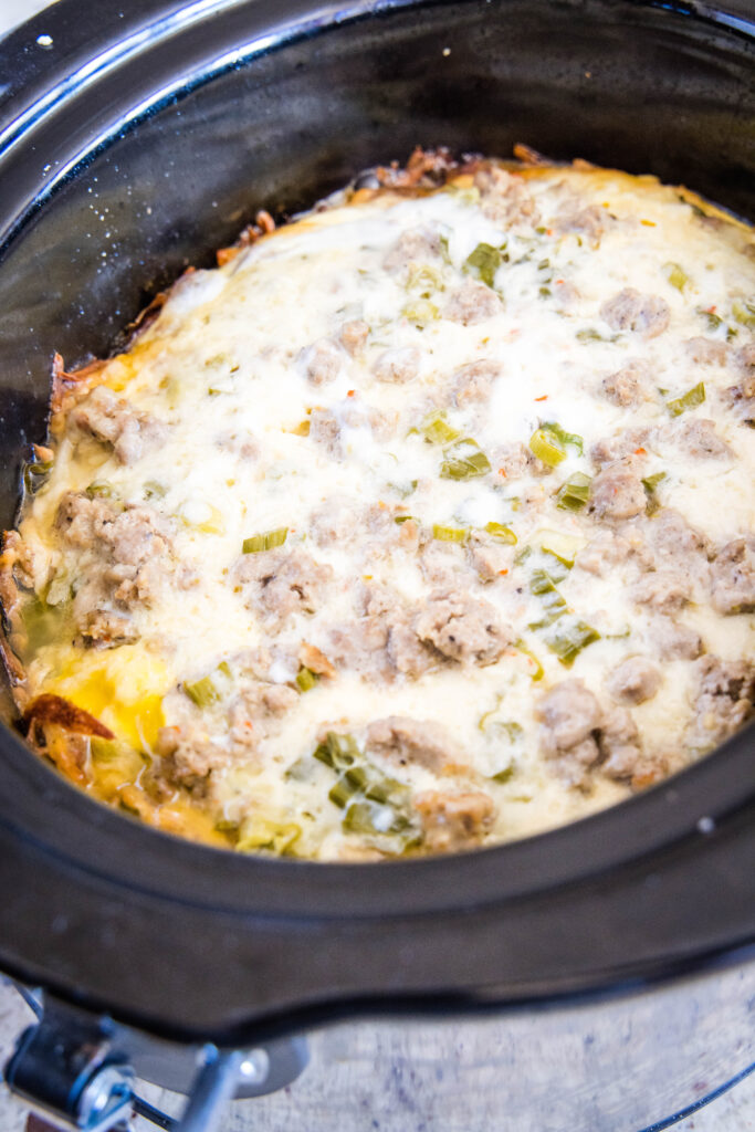 cooked breakfast casserole in the slow cooker