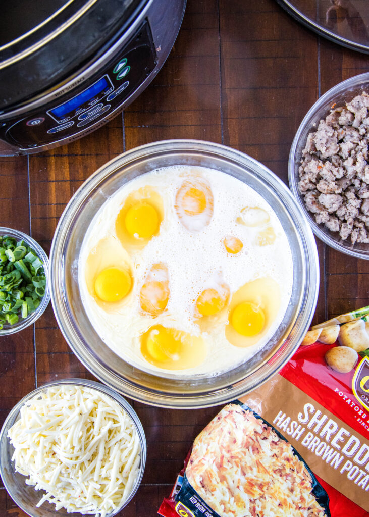 ingredients for breakfast egg bake made in the slow cooker