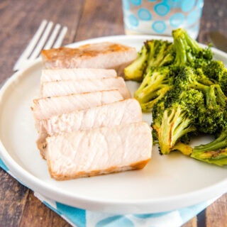 cropped sliced pork chop on plate