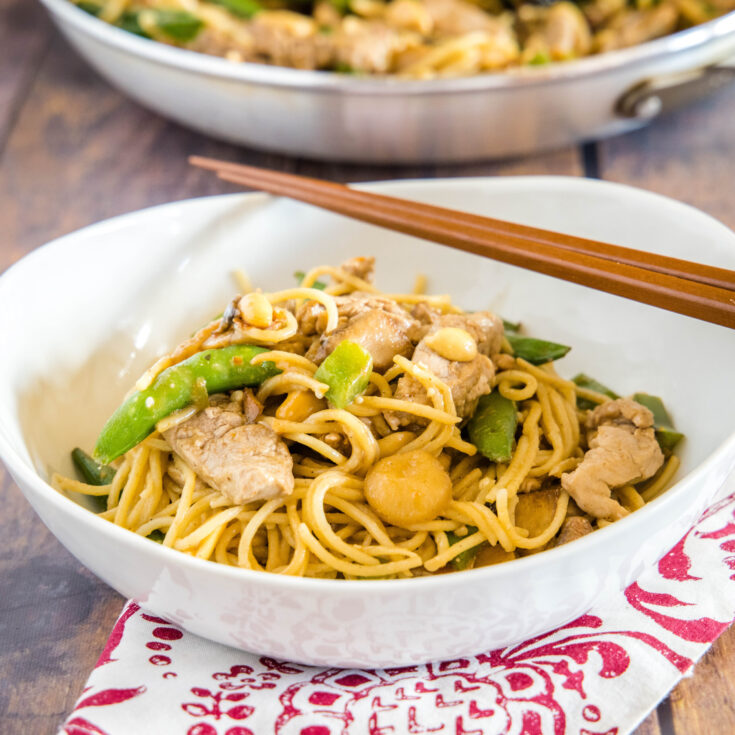 cropped in picture of stir fry noodles in a bowl