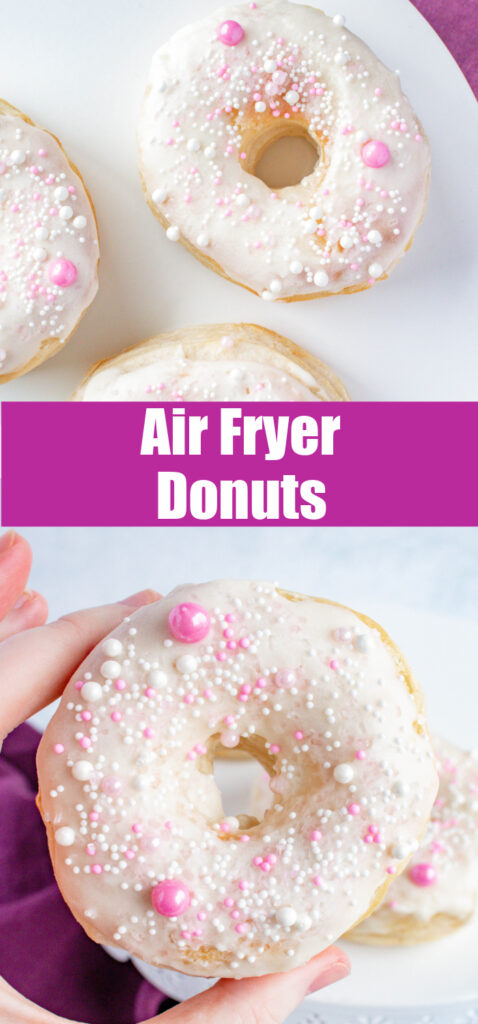 close up air fryer donuts for pinterest