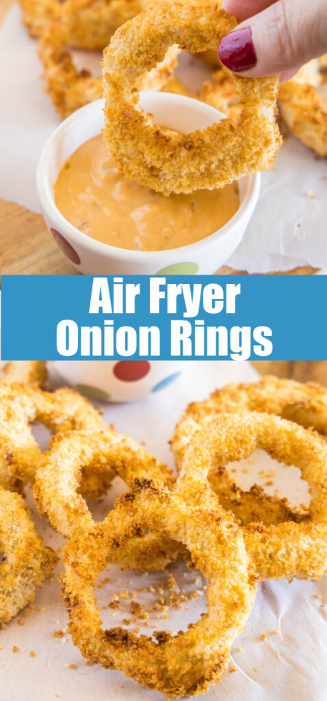 onion rings made in the air fryer collage for pinterest