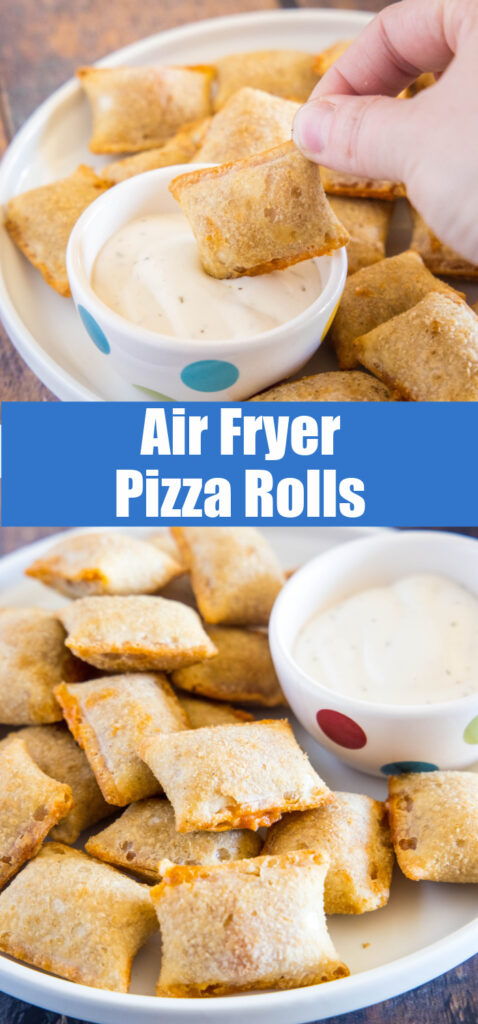air fryer pizza rolls on a plate with ranch sauce