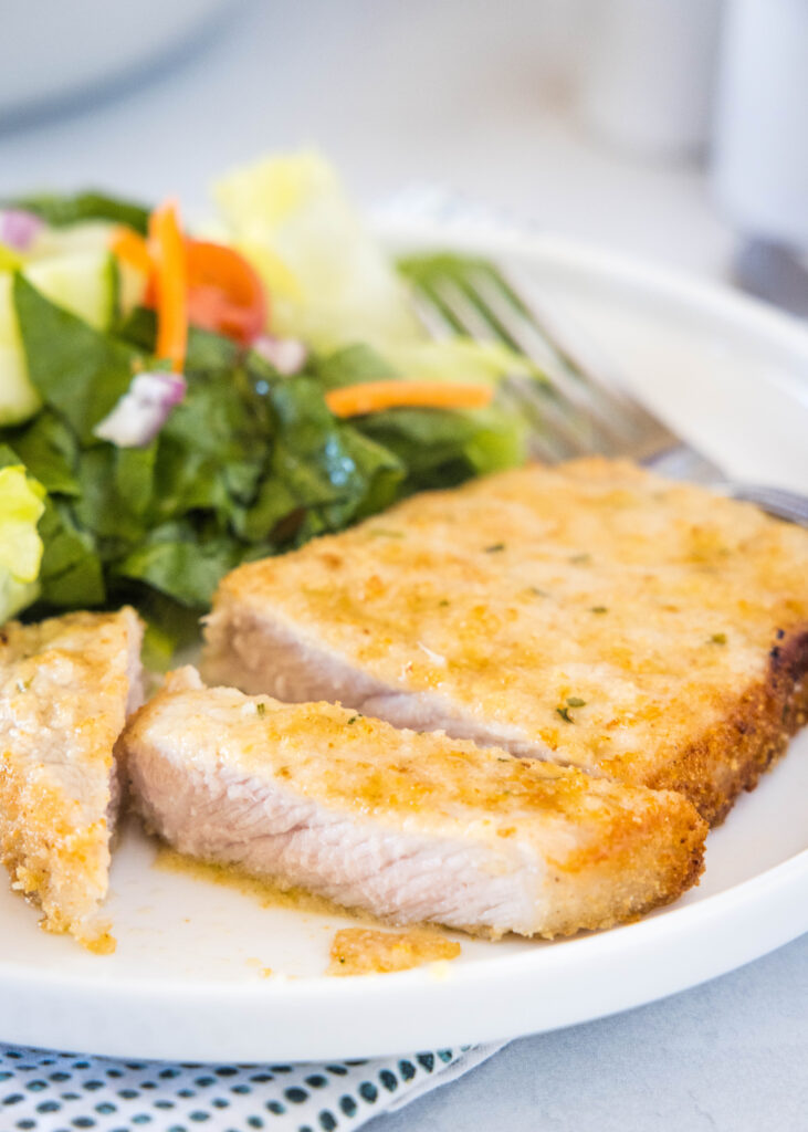 sliced pork chop cooked in the air fryer