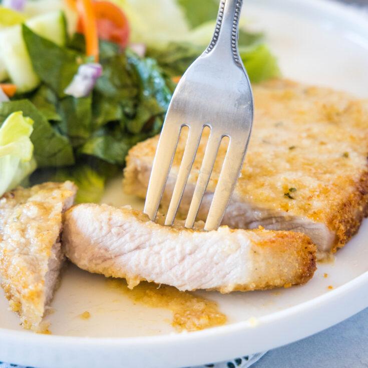 close up of sliced pork chop