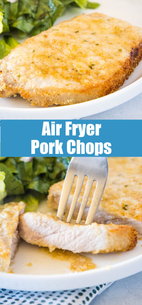 air fryer pork chop on a white plate with salad