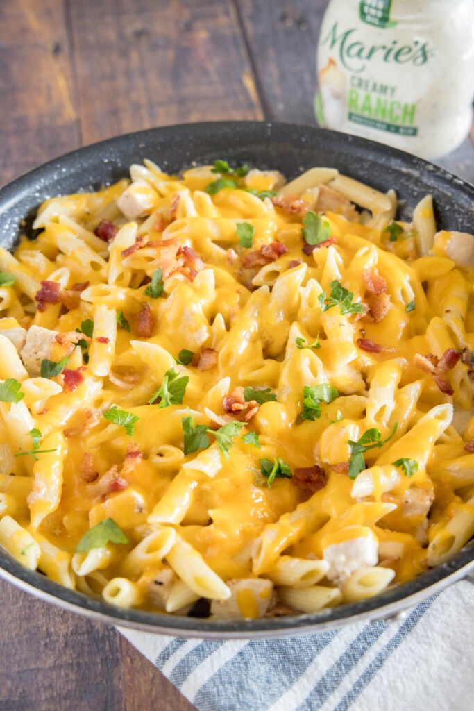 ranch pasta in skillet on table