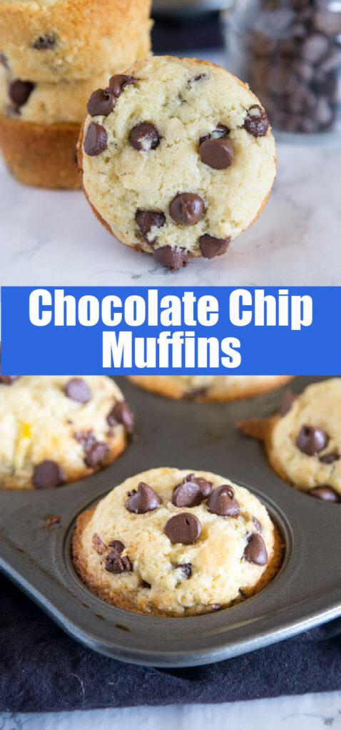chocolate chip muffins in muffin tin