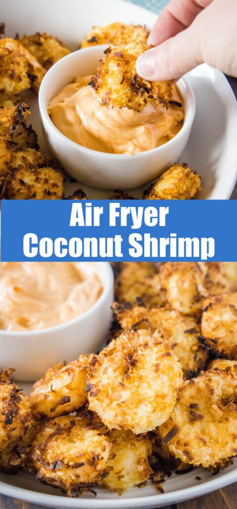 close up of air fryer coconut shrimp