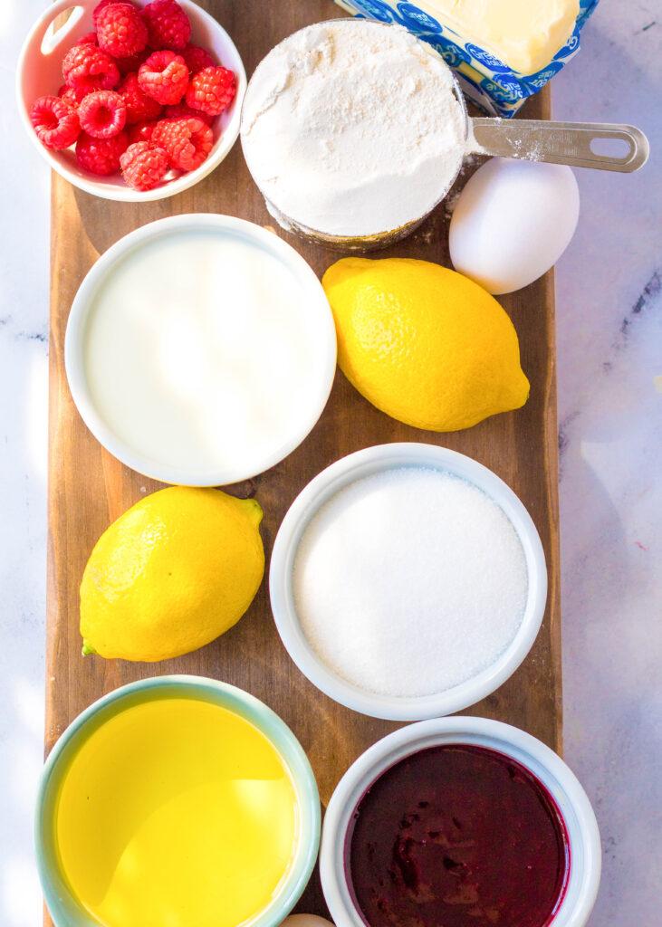 ingredients to make lemon cupcakes