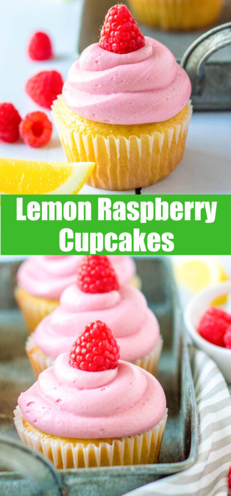 pinterest collage of lemon raspberry cupcakes close up
