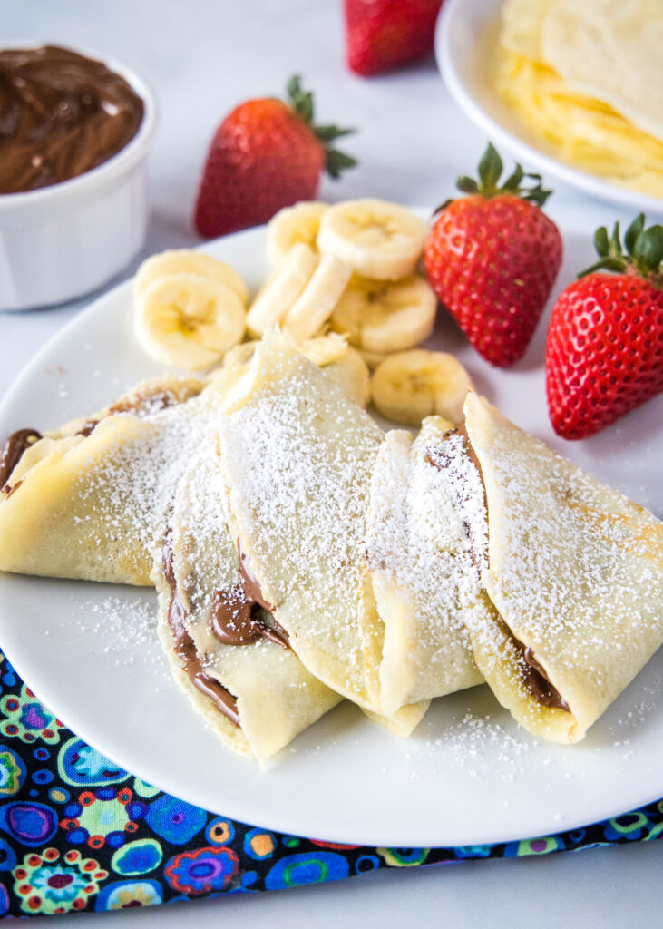 nutella crepes on a plate