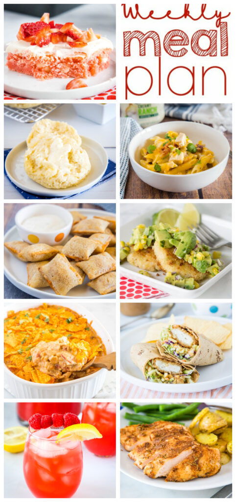 dinner plan for the week in a collage