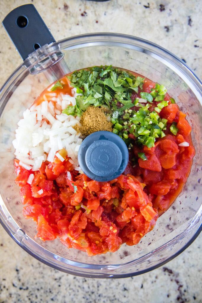 salsa ingredients in food processor