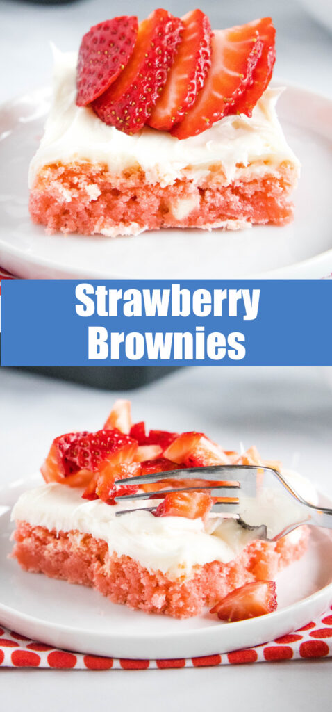 close up strawberry brownies for pinterest collage
