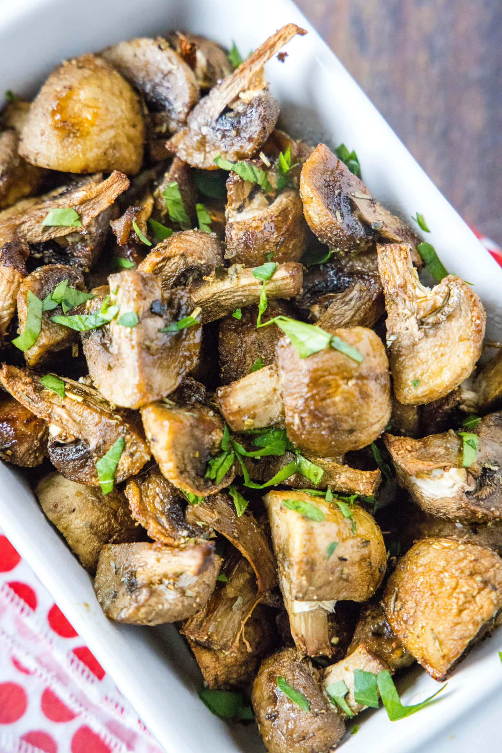 mushrooms in a dish topped with parsley
