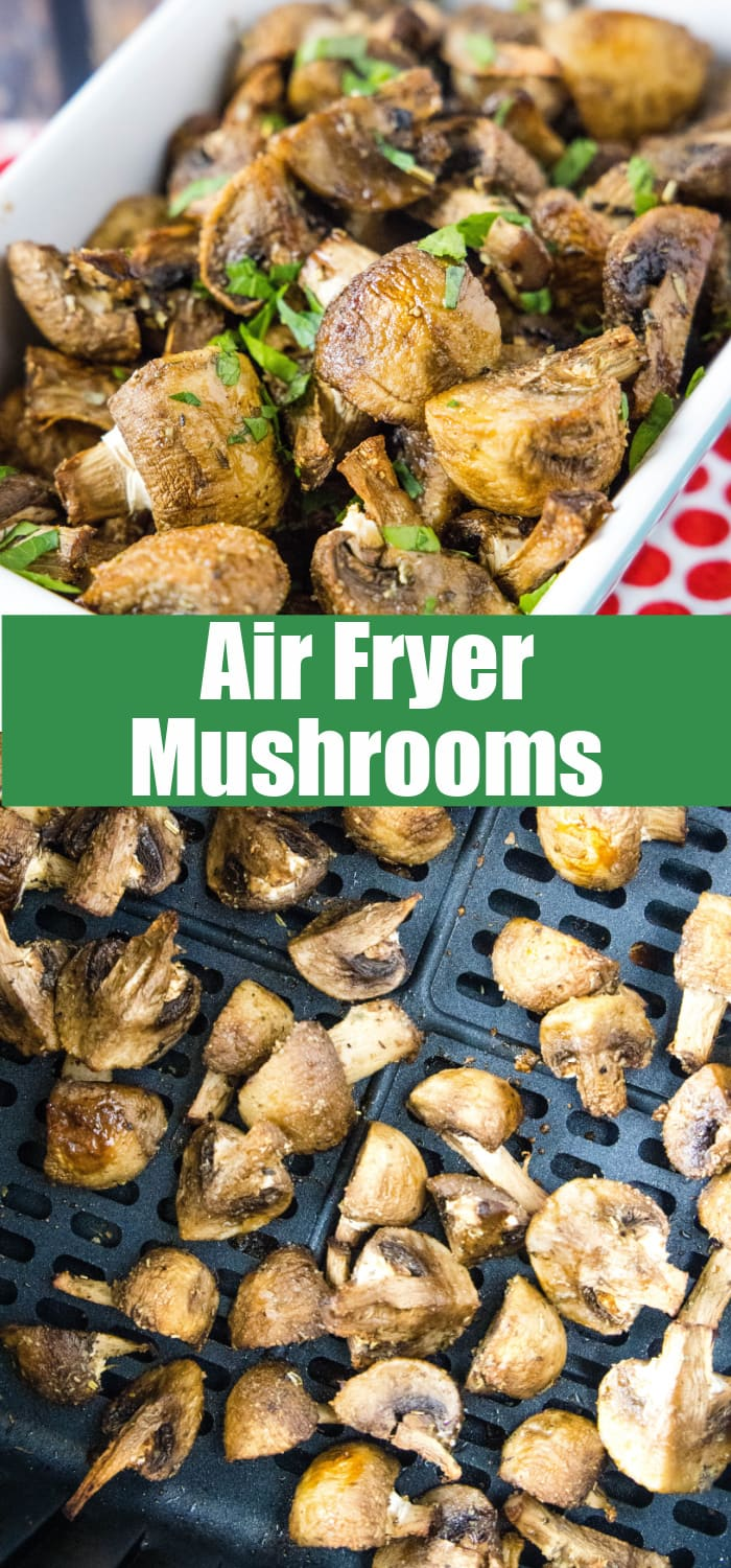 close up of mushrooms cooked in the air fryer for pinterest