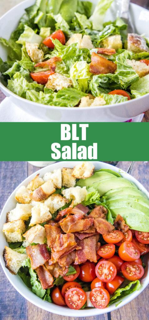close up blt salad in a bowl for pinterest