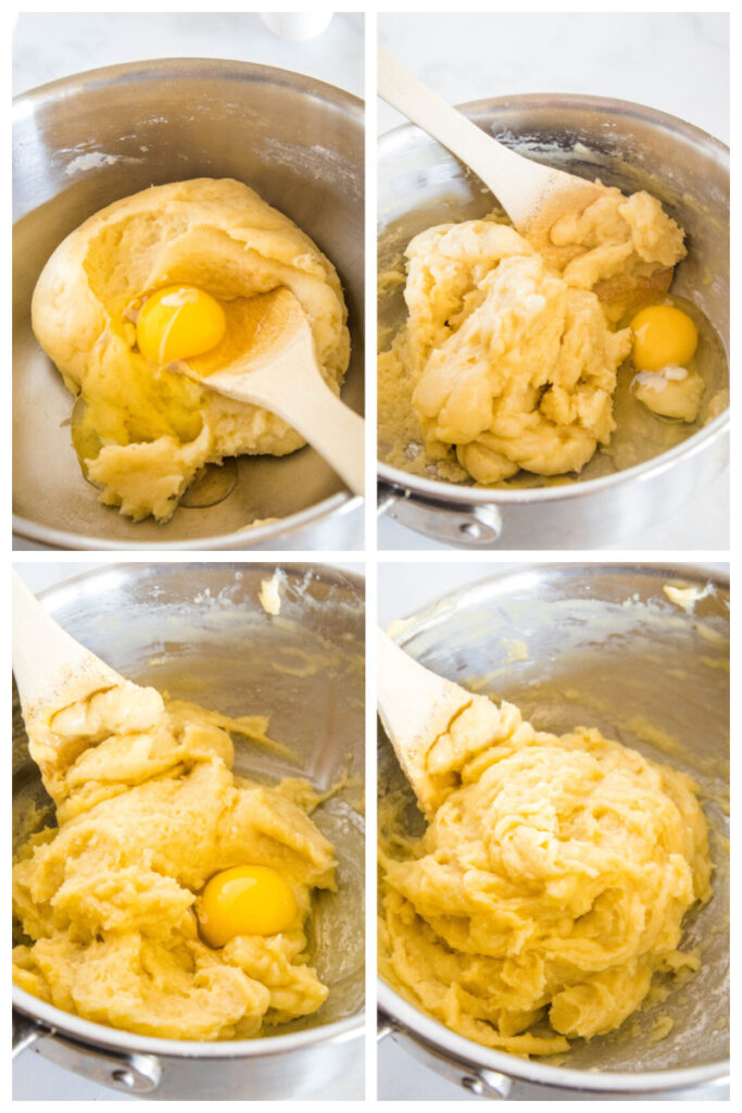 how to make churro batter with the stages of eggs being mixed in