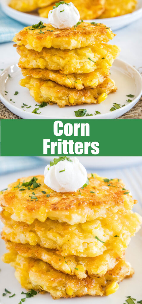 pinterest close up collage of stack of corn fritters