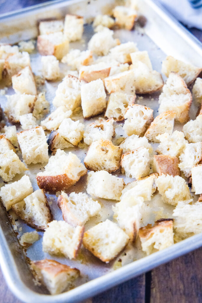 baked bread cubes