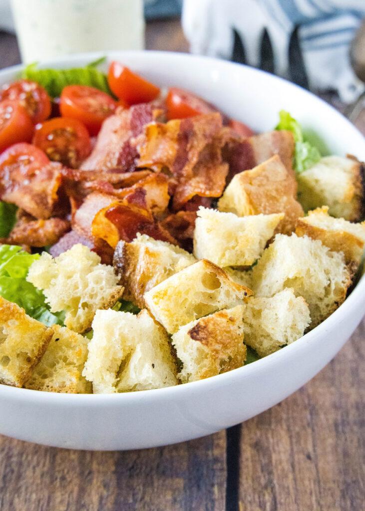 homemade croutons on a salad