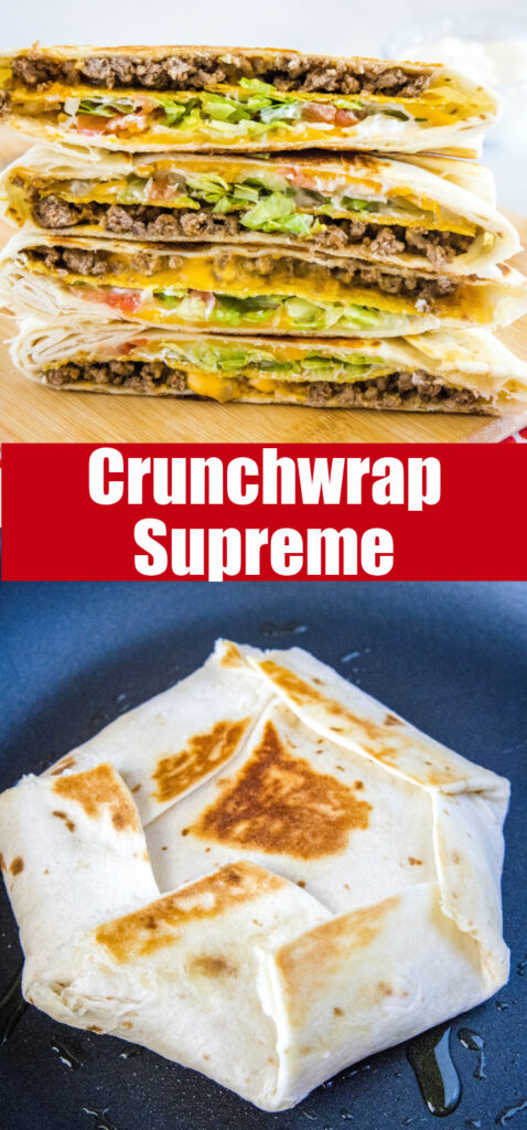 close up crunchwrap collage for pinterest