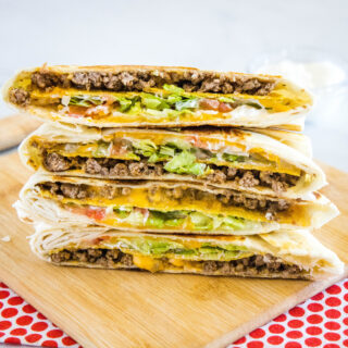 close up of stack copycat taco bell crunch wrap